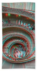 Down Stairs Anaglyph 3d Beach Towel