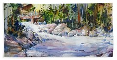 Down Stream On Hoppers Creek Beach Towel