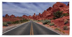 Down The Open Road Beach Towel