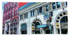 Downtown Asheville City Street Scene Painted  Beach Sheet