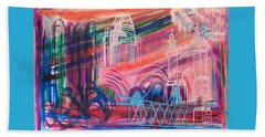 Beach Sheet featuring the painting Downtown Cincinnati by Diane Pape