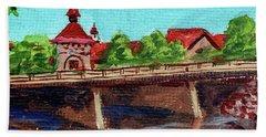 Downtown Frankenmuth Michigan Impressionistic Landscape Xxiv Beach Towel