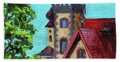 Downtown Frankenmuth Michigan Impressionistic Landscape Xxvi Beach Towel