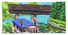 Downtown Frankenmuth Michigan Impressionistic Landscape Xxxvi Beach Towel