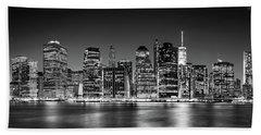 Downtown Manhattan Bw Beach Towel