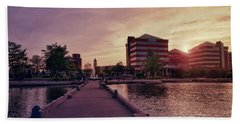 Beach Towel featuring the photograph Downtown Neenah Sunset by Joel Witmeyer