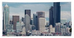 Downtown Seattle And Ferries Beach Towel