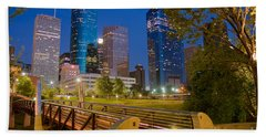 Dowtown Houston By Night Beach Towel