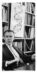 Dr. James Watson And Dna Helix Beach Towel