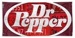 Dr Pepper Soda Pop Beverage Vintage Retro Logo Recycled License Plate Art Beach Towel