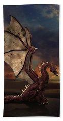 Dragon At Sunset Beach Towel