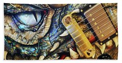 Dragon Guitar Prs Beach Towel by Martin Konopacki