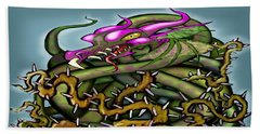 Dragon In Thorns Beach Towel by Kevin Middleton