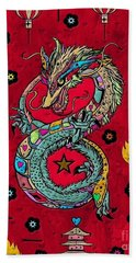 Beach Towel featuring the digital art Dragon Popart By Nico Bielow by Nico Bielow
