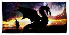 Dragon Silhouette Beach Sheet by Maria Urso