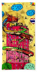 Beach Towel featuring the digital art Dragon Tower Popart By Nico Bielow by Nico Bielow