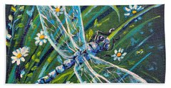 Dragonfly And Daisies Beach Towel