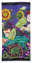 Dragonfly And Unicorn Beach Towel