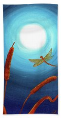 Dragonfly In Teal Moonlight Beach Sheet