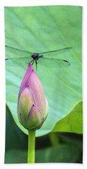 Dragonfly Landing On Lotus Beach Towel