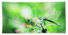 Dragonfly On Lantana-green Beach Towel by Toma Caul