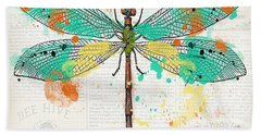 Dragonfly On Newsprint-jp3451 Beach Towel