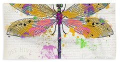 Dragonfly On Newsprint-jp3454 Beach Towel