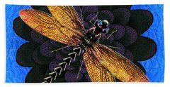 Beach Towel featuring the digital art Dragonfly Snookum by Iowan Stone-Flowers