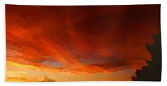 Beach Towel featuring the digital art Drama At Sunrise by Shelli Fitzpatrick