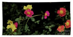 Dramatic Colorful Flowers Beach Towel