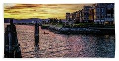 Dramatic Hudson River Sunset Beach Towel
