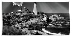 Dramatic Portland Head Lighthouse Me Beach Sheet