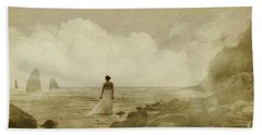 Dramatic Seascape And Woman Beach Towel
