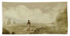 Dramatic Seascape And Woman Beach Sheet