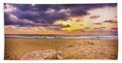 Dramatic Sunrise, La Mata, Spain. Beach Towel