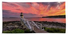 Dramatic Sunset At Marshall Point Lighthouse Beach Sheet