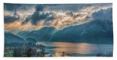 Dramatic Sunset Over Mondsee, Upper Austria Beach Sheet by Jivko Nakev