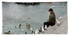 Dreadlocks Man Feeding Birds Beach Sheet