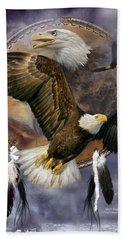 Dream Catcher - Spirit Eagle Beach Towel by Carol Cavalaris