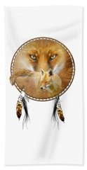 Beach Towel featuring the painting Dream Catcher- Spirit Of The Red Fox by Carol Cavalaris