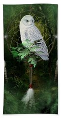 Dream Catcher White Owl Beach Sheet