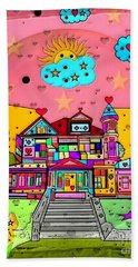 Beach Towel featuring the digital art Dream House Popart By Nico Bielow  by Nico Bielow