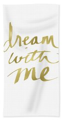 Dream With Me Gold- Art By Linda Woods Beach Towel
