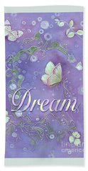 Beach Towel featuring the painting Dream With Periwinkle Butterfly Scrolls by Nancy Lee Moran