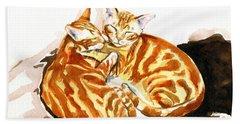 Dreaming Of Ginger - Orange Tabby Cat Painting Beach Sheet