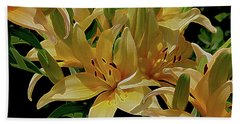 Dreaming Of Lilies Beach Sheet by Lynda Lehmann