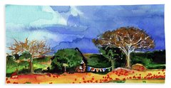 Beach Towel featuring the painting Dreaming Of Malawi by Dora Hathazi Mendes