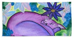 Dreaming Sleeping Purple Cat Beach Towel