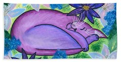 Beach Towel featuring the painting Dreaming Sleeping Purple Cat by Carrie Hawks