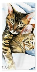Dreamland - Bengal And Savannah Cat Painting Beach Sheet